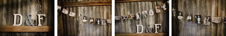 Old photographs, tin wall. love