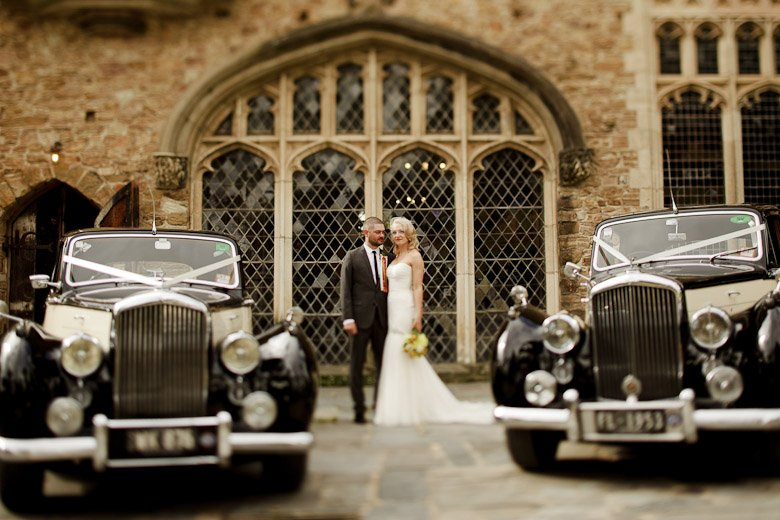 Wedding cars, stained glass windows, tilt shift formal.