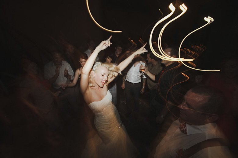Crazy bride going off on the dancefloor at Monsalvat