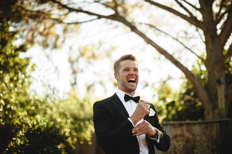 The groom - he is excited.