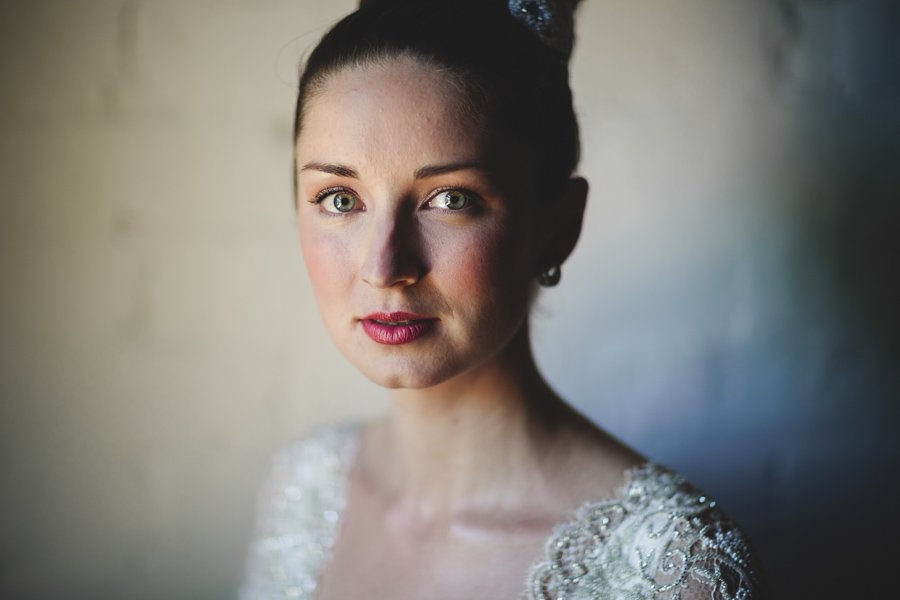 Portrait of the bride taken inside the Euroa Butter Factory