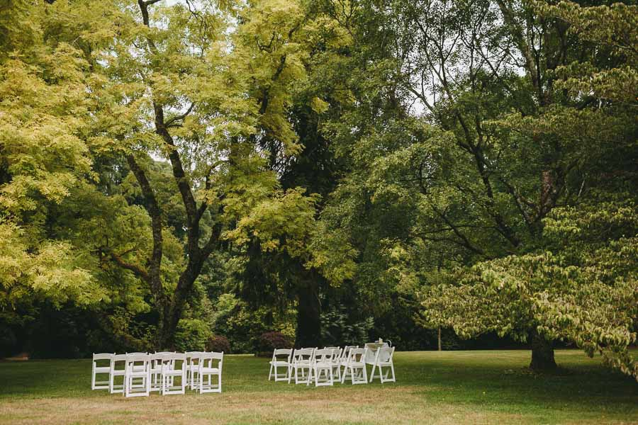 Chairs all set up for a wedding at Duneira Estate, Macedon Ranges