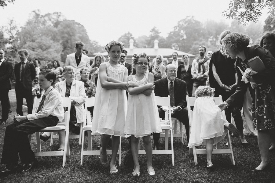 Beautiful flower girls braving the cold mist at a lovely Duneira Estate wedding