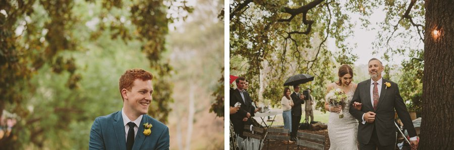 Tim sees Bridget for the first time at their rainy but beautiful Collingwood Children's Farm wedding