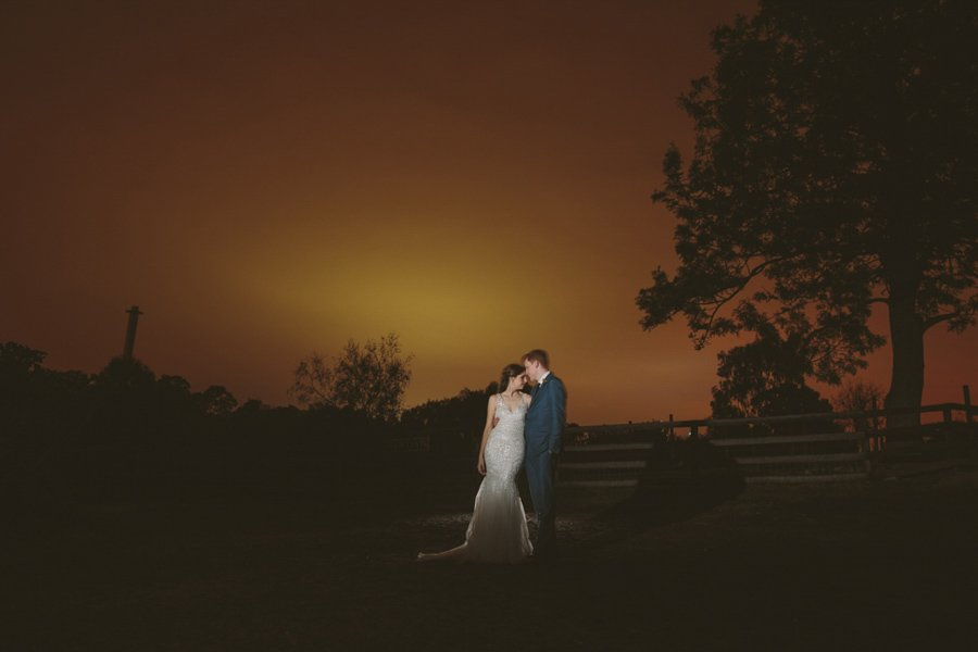 Nighttime wedding portraits at the Collingwood Children's Farm