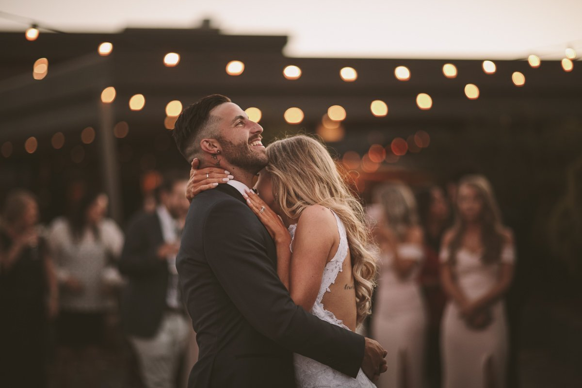 First dance shot, bride and groom laughing, vines of the yarra valley wedding